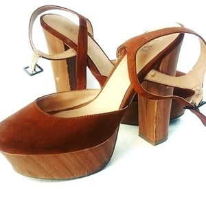 XXI Shoes - Brown Suede Platform Wedge High Heel Shoes